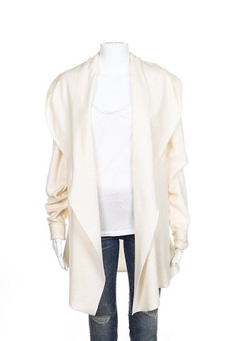 ME & D Cardigan Jacket Ivory Cream Hooded Cuffed Long Sleeve Sweater Medium