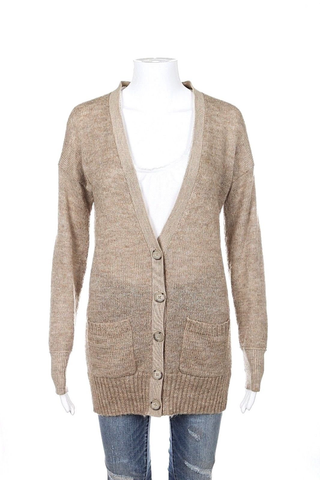 CLUB MONACO Cardigan Light Brown Knit Sweater Size S