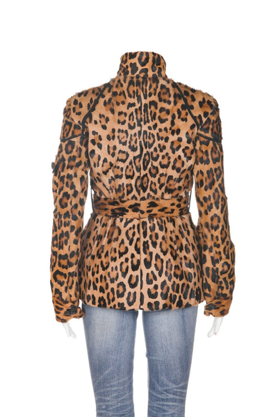 ROBERTO CAVALLI Leopard Print Belted Jacket - back view