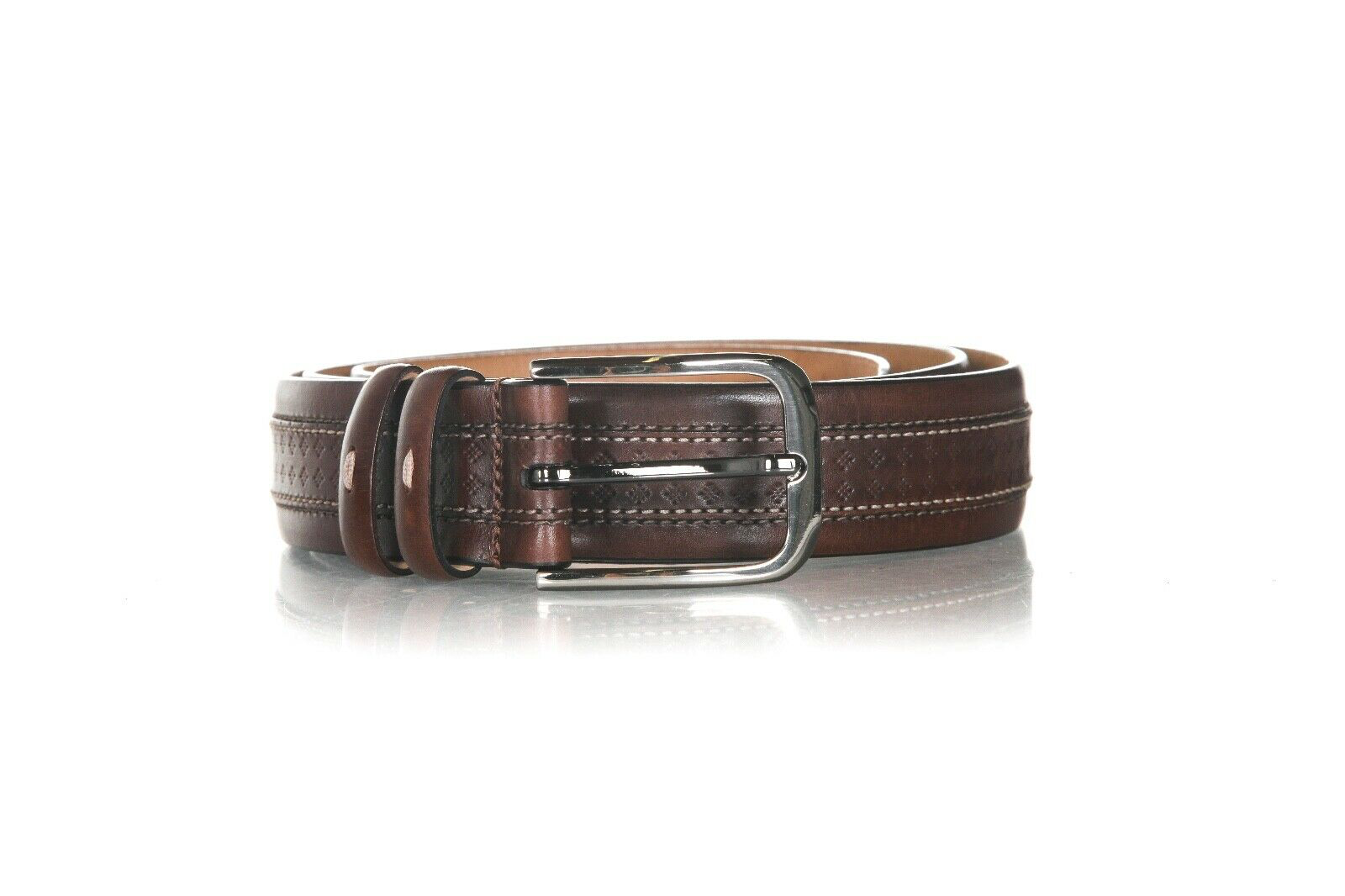 MEZLAN Leather Belt with Top Stitch