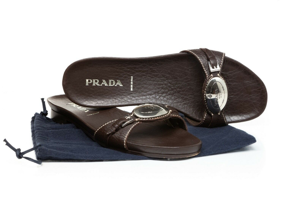 PRADA Leather Sandal Slides - display