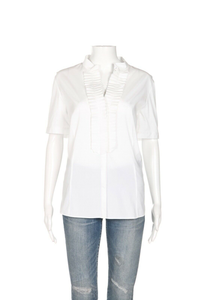 LAFAYETTE 148 Pleated Y Neck Blouse