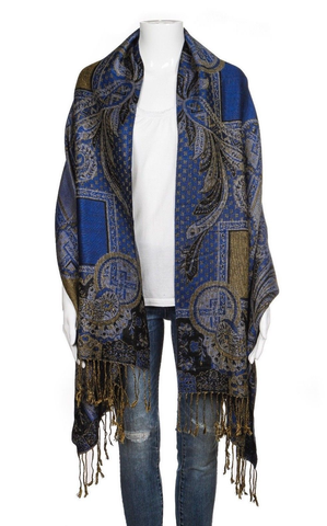 PASHMINA Blue Yellow Scarf Black Paisley Fringe Soft Shawl