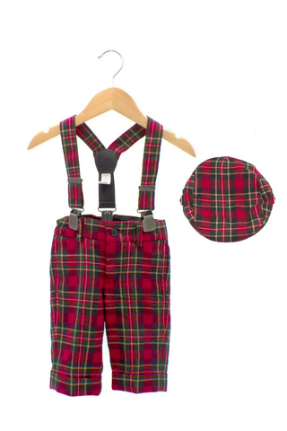 JANIE AND JACK Suspender Pant and Hat Set
