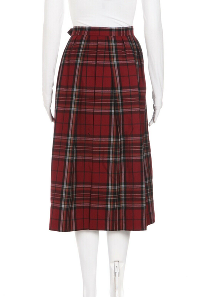 YVES SAINT LAURENT RIVE GAUCHE Plaid Pleated Vintage Skirt - back view