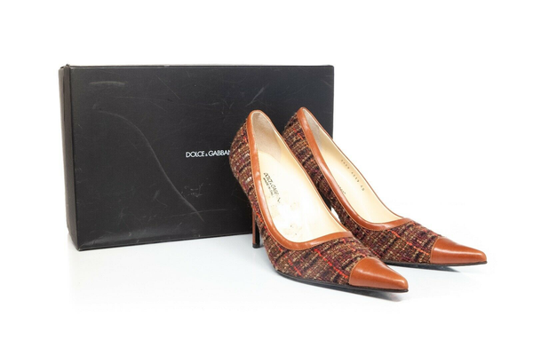 DOLCE & GABBANA Pointed Toe Tweed Pumps - with box