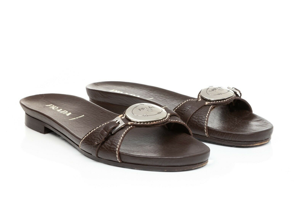 PRADA Leather Sandal Slides - side view