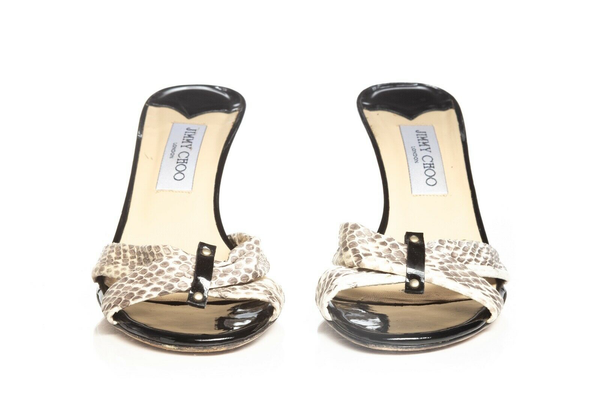 JIMMY CHOO Snakeskin Mules - front view