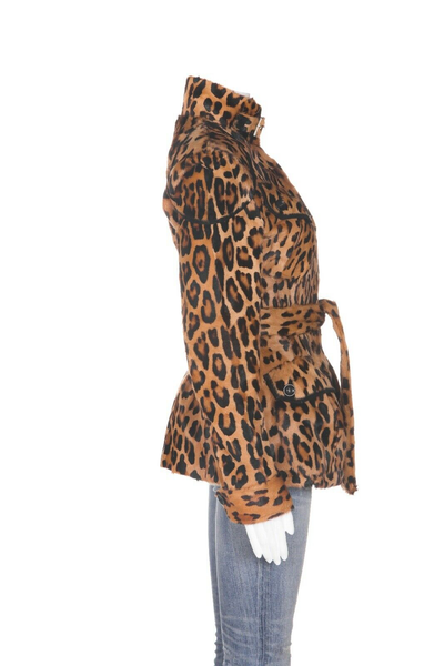 ROBERTO CAVALLI Leopard Print Belted Jacket - side view