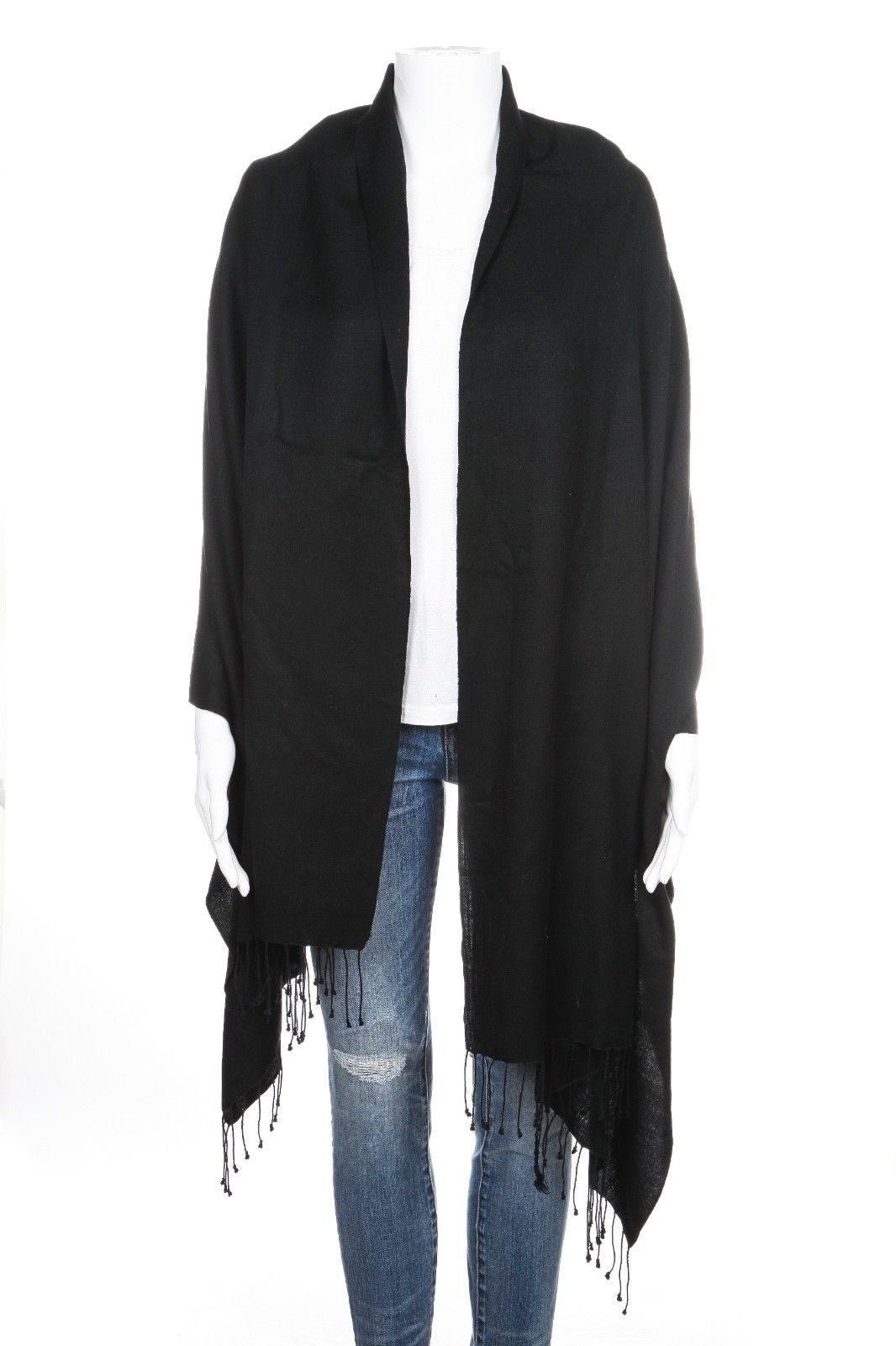 PASHMINA Shawl Silk Wool Black Scarf Fringe Rectangular