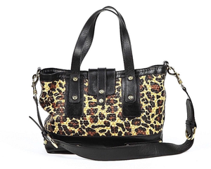 STUART WEITZMAN Handbag Leather Black Straw Animal Print Tote