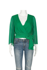 ALICE + OLIVIA Silk Wrap Blouse