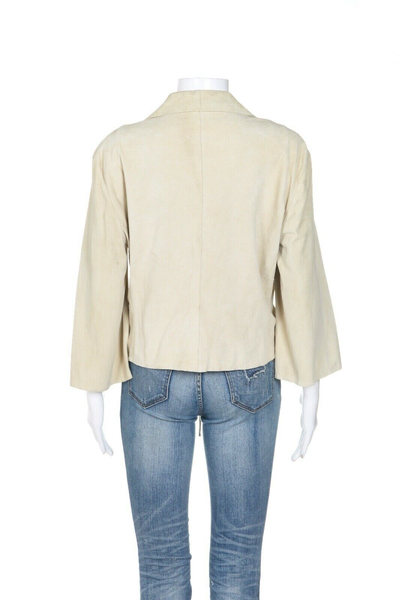 ARMANI COLLEZIONI Ruched Leather Jacket - back view