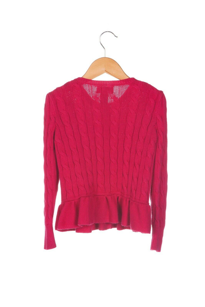 POLO RALPH LAUREN Cable Knit Peplum Sweater - back view