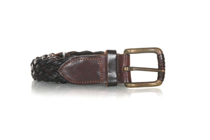 COLE HAAN Leather Woven Slim Belt