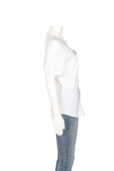 LAFAYETTE 148 Pleated Y Neck Blouse - side view