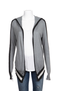 BLANC NOIR Open Cardigan Silk Blend Gray Hoodie Mesh Sweater Size M