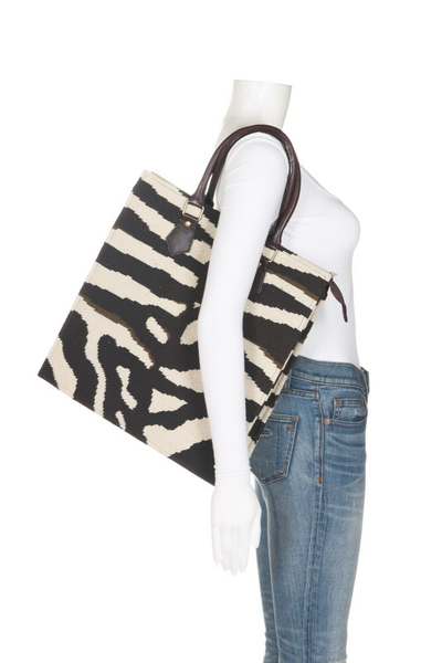 DRANSFIELD & ROSS Vintage Zebra Needlepoint Tote Bag - on mannequin