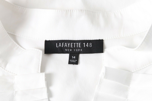 LAFAYETTE 148 Pleated Y Neck Blouse - designer tag