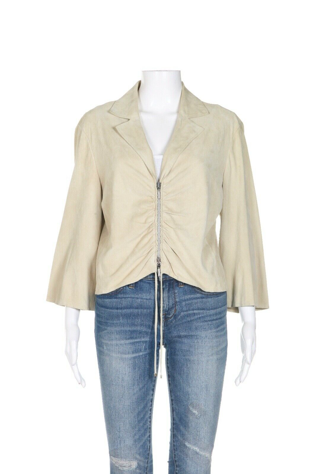 ARMANI COLLEZIONI Ruched Leather Jacket