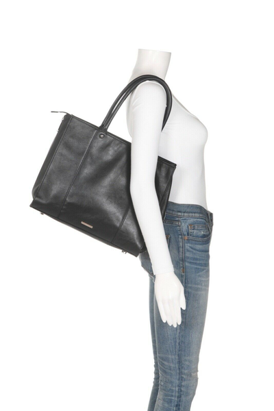 REBECCA MINKOFF Leather Structured Tote - on mannequin
