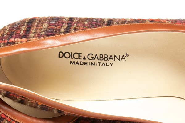 DOLCE & GABBANA Pointed Toe Tweed Pumps - inside view