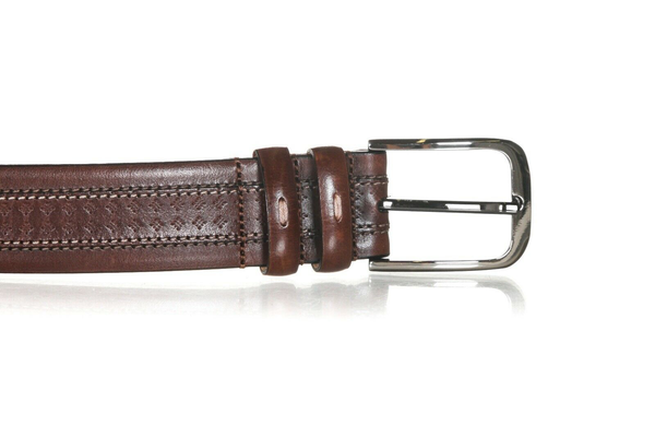 MEZLAN Leather Belt with Top Stitch - buckle