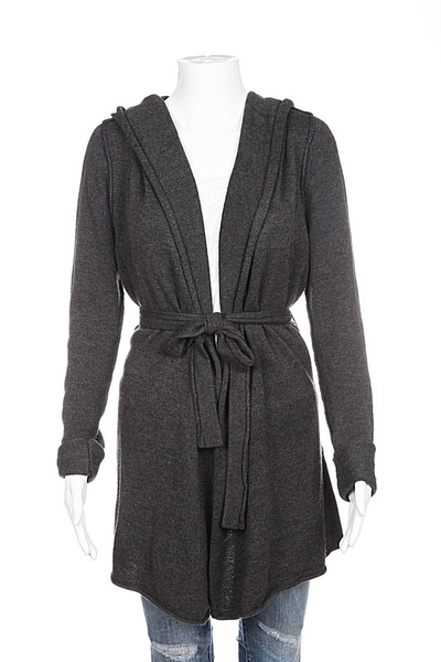 WHITE HOUSE BLACK MARKET Cardigan Gray Hooded Belt Tie Long Size S