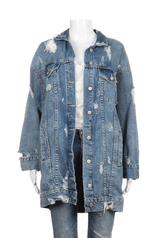 ZARA Oversized Long Denim Blue Jean Distressed Jacket Size M