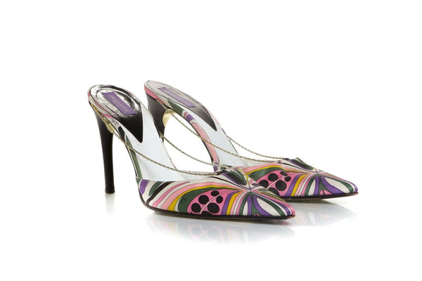 EMILIO PUCCI Satin Chain Pointed Mules Pumps Size 38