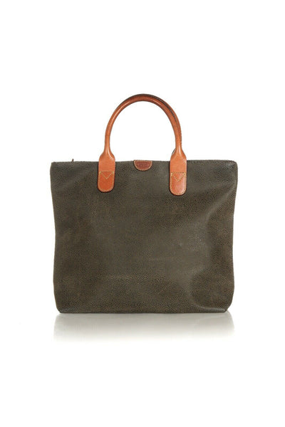 BRIC'S Small Micro Suede Pebble Leather Tote Bag