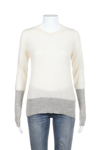 VINCE Sweater Ivory Gray Color Block 100% Cashmere Size XS