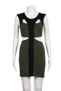 Donna Mizani Green Mini Cut-Out Dress Bodycon