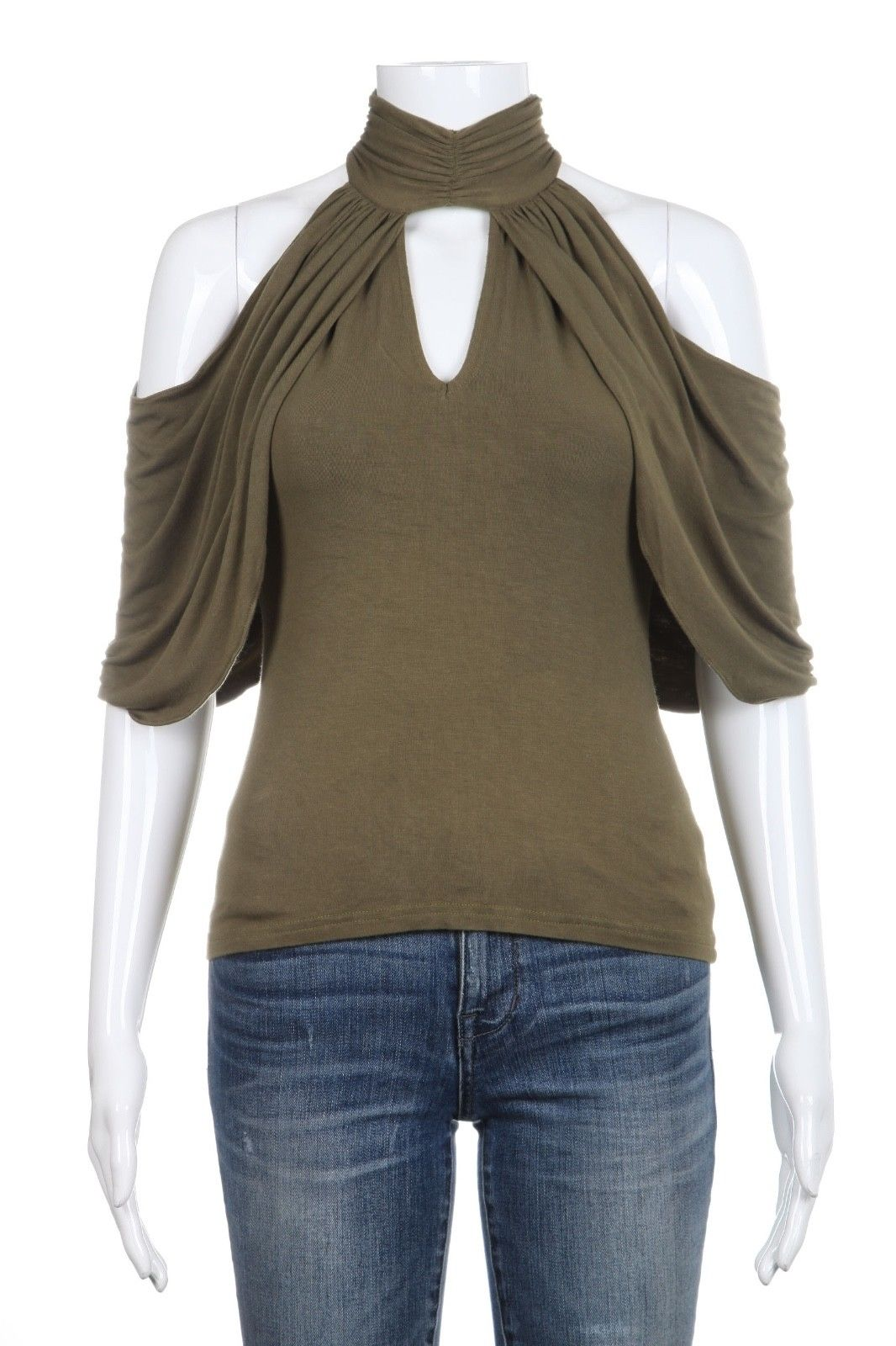 ABI FERRIN Green Draped Cold Shoulder Top Size XS