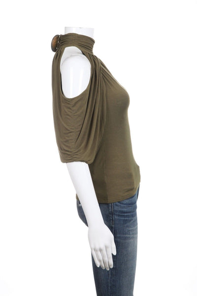 ABI FERRIN Draped Cold Shoulder Top Size XS