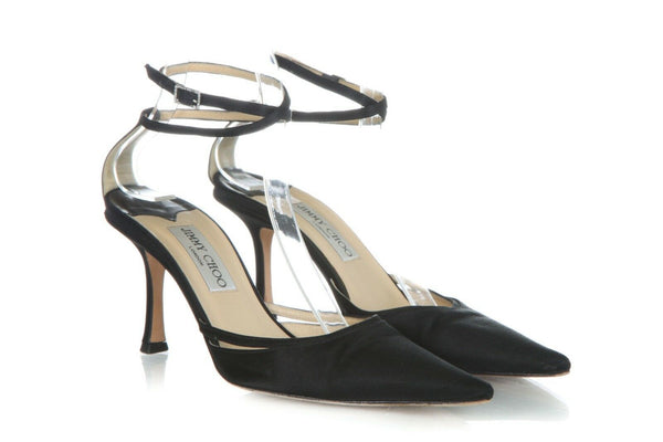 JIMMY CHOO Satin Ankle Strap Pumps Size 38.5