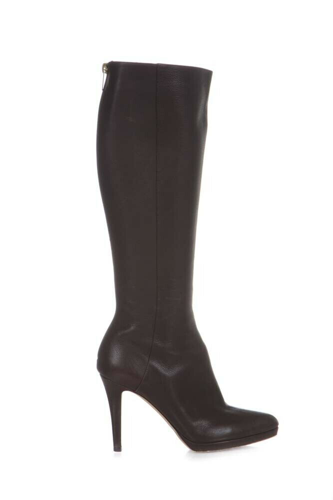 JIMMY CHOO Knee High Heeled Leather Boots Size 37.5