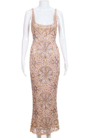 Nude Pink Sequin Embellished Midi Dress Size 6