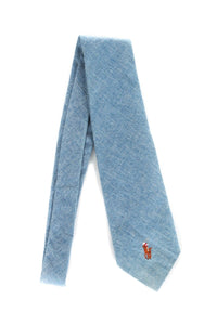 POLO Ralph Lauren Blue Cotton Neck Tie with Embroidered Pony