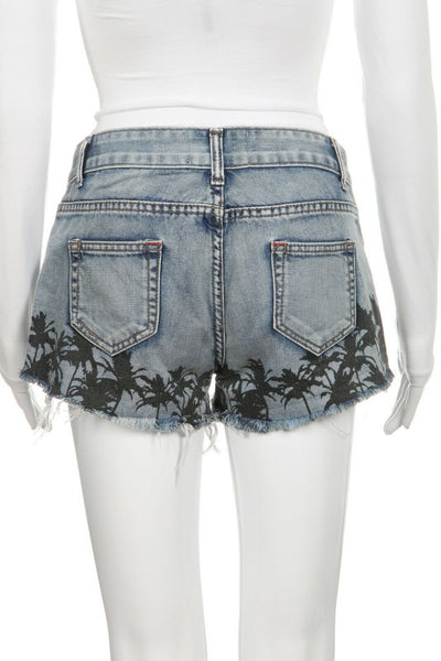 WHITE CROW Denim Jean Shorts Palm Print Size 26
