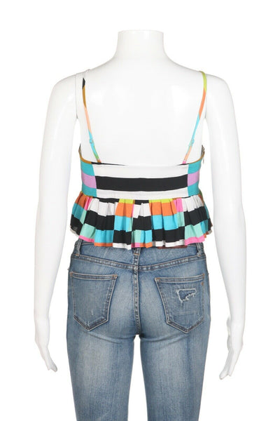 MARA HOFFMAN Pleated Crop Cami Top Size S