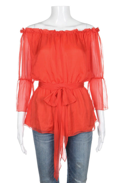 HEIDI WEISEL Orange 100% Silk Top Blouse With Waist Tie Size 8