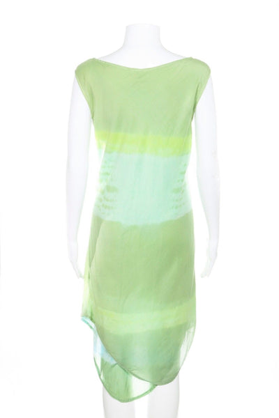 GREGORY PARKINSON Silk Green Tie Dye Dress Size S