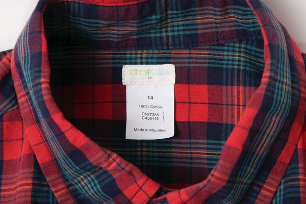 CREWCUTS Boys Tartan Button Down Shirt Size 14