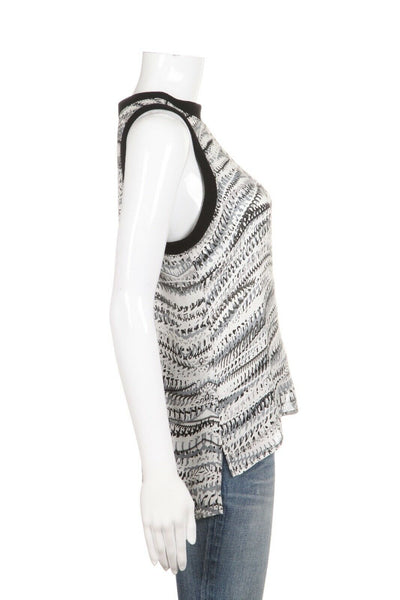 MICHAEL STARS Black White 100% Silk Printed Tank Top Size XS