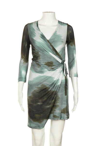 DIANE VON FURSTENBERG Print Mesh Wrap Mini Dress Size 10