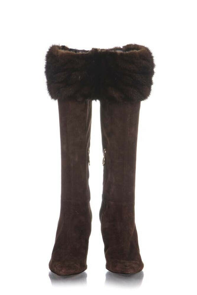 SERGIO ROSSI Brown Fur Trim Suede Leather Boots Size 38