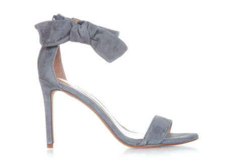 Gray Jasmine Suede Leather Ankle Strap Heels Size 7 (New)