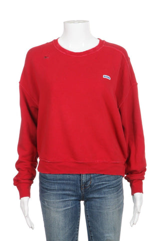 RE/DONE Red Distressed Sweatshirt Size XS