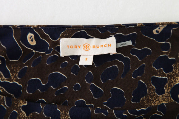 TORY BURCH Dress Brown Navy Blue Cheetah Animal Print Waist Tie Size S